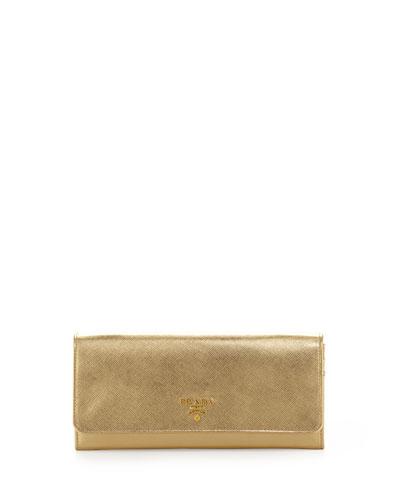 Saffiano Metallic Wallet on Chain, Gold (Platino)