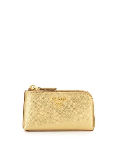 Prada Saffiano Key Pouch, Gold (Platino)