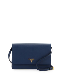 Prada Saffiano Wallet Crossbody, Blue (Bluette)