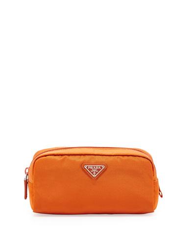 Prada Vela East-West Cosmetic Case, Orange (Papaya)