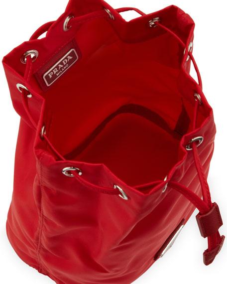 Prada Vela Drawstring Pouch, Red (Rosso)