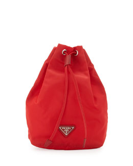 Prada Vela Drawstring Pouch Bag, Red (Rosso)