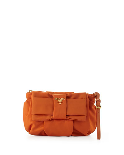 Prada Tessuto Bow Wristlet, Orange (Papaya)