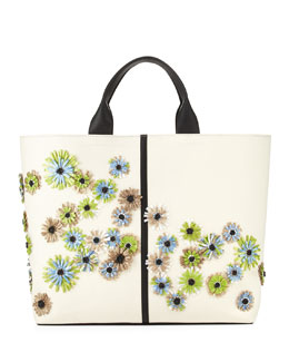 Reed Krakoff Floral Track Leather Tote Bag