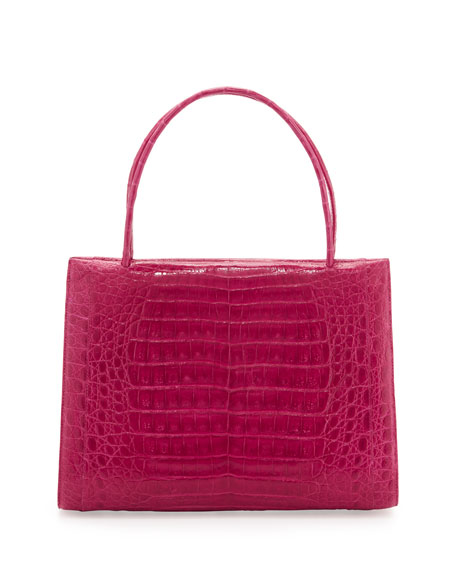 Wallis Medium Crocodile Bag, Pink