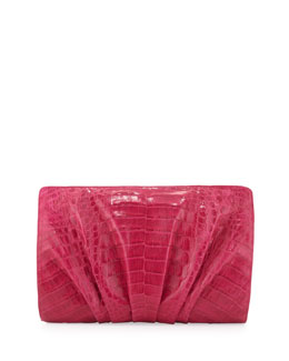 Nancy Gonzalez Crocodile Ruched Clutch Bag, Pink