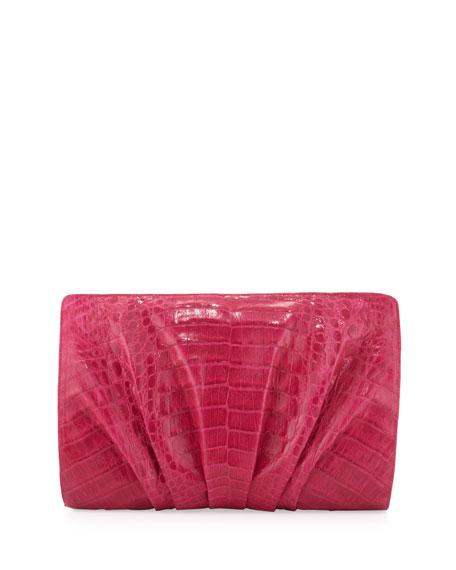 Crocodile Ruched Clutch Bag, Pink