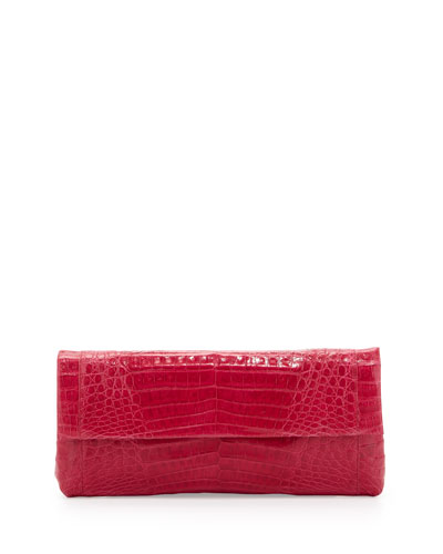 Nancy Gonzalez Back-Pocket Crocodile Clutch Bag, Pink