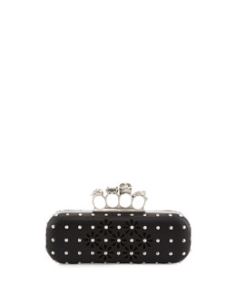 Alexander McQueen Cutout Flower Long Knuckle Box Clutch Bag, Black