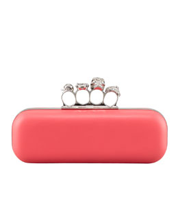 Alexander McQueen Napa Knuckle-Duster Box Clutch Bag, Pink
