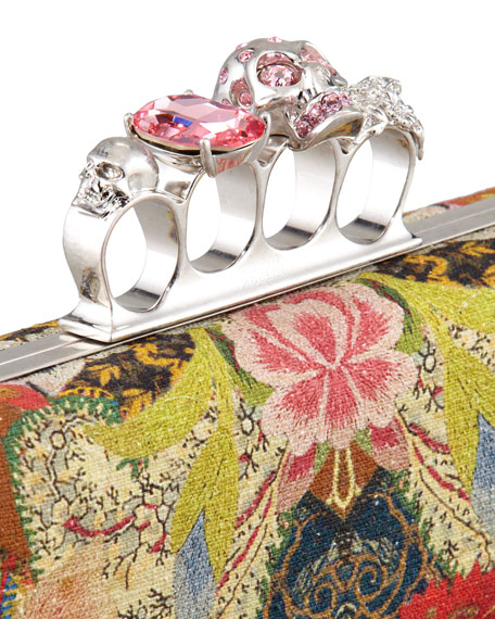Floral-Print Long Knuckle-Duster Clutch Bag