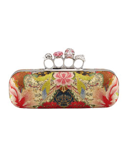 Alexander McQueen Floral-Print Long Knuckle-Duster Clutch Bag