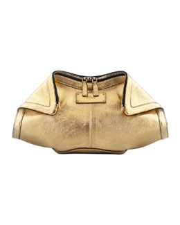 Alexander McQueen Metallic De-Manta Leather Clutch Bag, Gold