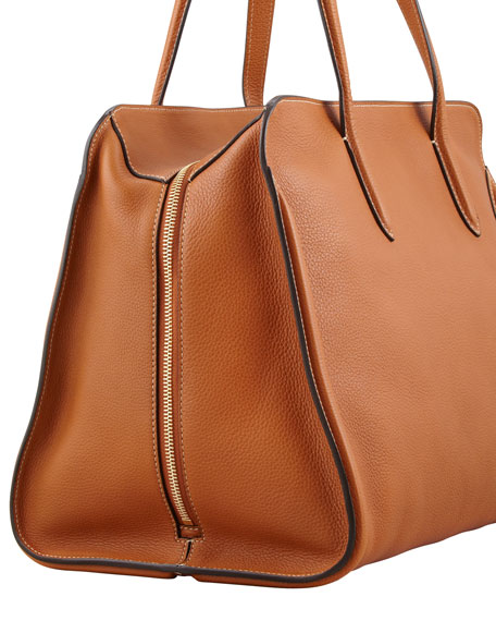 Skull Padlock Zip-Around Tote Bag, Tan
