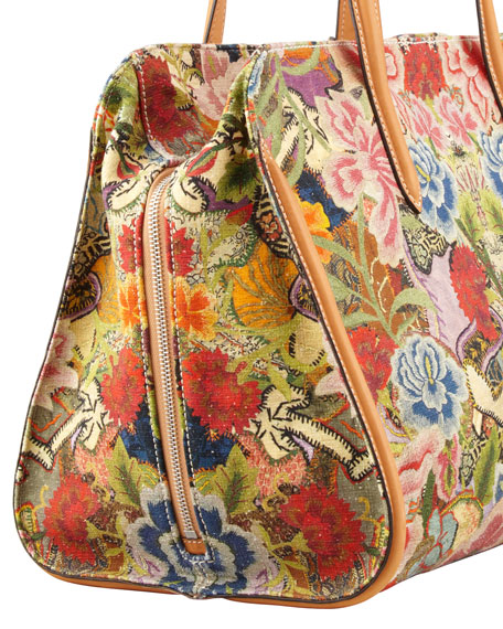 New Skull Padlock Floral-Print Zip-Around Tote Bag