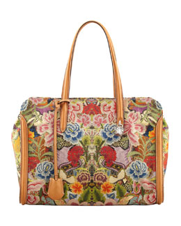 Alexander McQueen New Skull Padlock Floral-Print Zip-Around Tote Bag