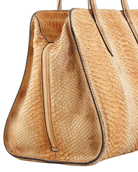 New Skull Padlock Python Zip-Around Tote Bag, Natural