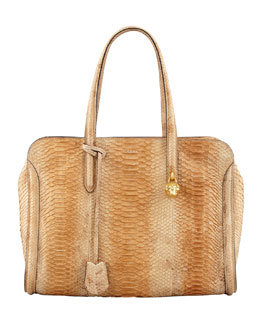 Alexander McQueen New Skull Padlock Python Zip-Around Tote Bag, Natural