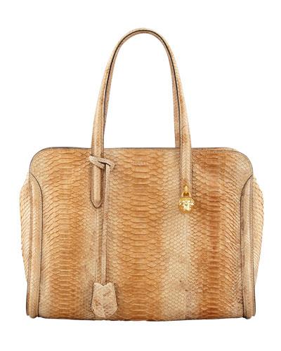 Alexander McQueen New Skull Padlock Python Zip-Around Tote Bag, Natural