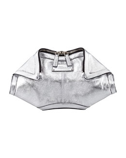 Alexander McQueen De-Manta Metallic Leather Clutch Bag, Silver
