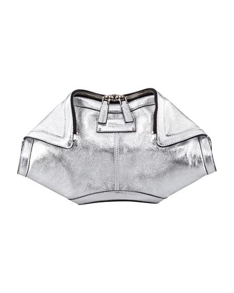 De-Manta Metallic Leather Clutch Bag, Silver