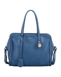 Alexander McQueen Small Padlock Zip-Around Tote Bag, Blue