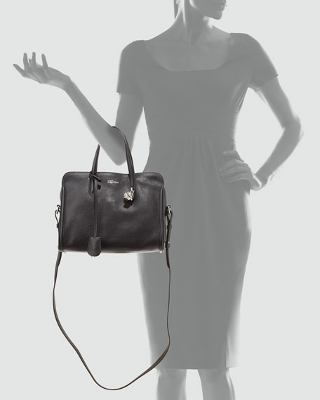 Alexander McQueen Small Padlock Zip-Around Tote Bag, Black