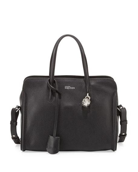 Small Padlock Zip-Around Tote Bag, Black