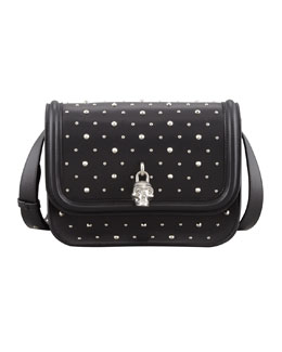 Alexander McQueen Small Studded Padlock Crossbody Bag, Black