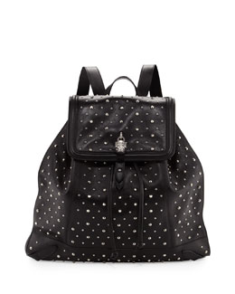 Alexander McQueen Studded Leather Skull-Padlock Backpack, Black