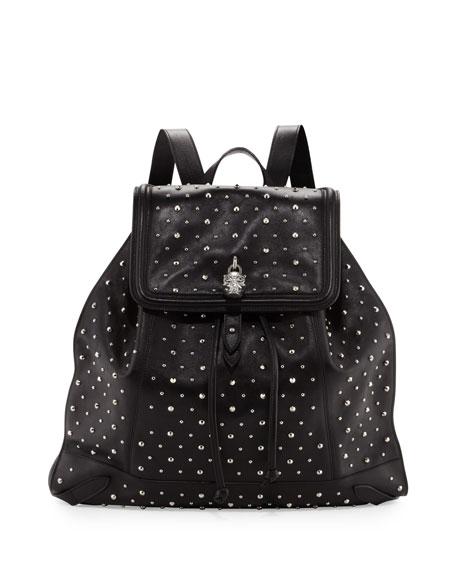 Studded Leather Skull-Padlock Backpack, Black
