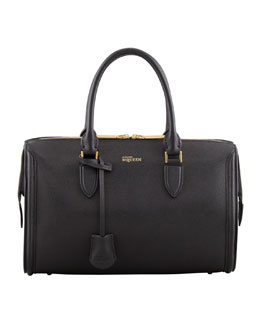 Alexander McQueen Heroine Medium Duffle Satchel Bag, Black