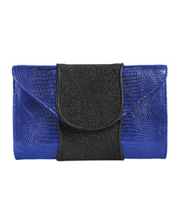 Khirma Eliazov Babo Lizard & Stingray Clutch Bag, Blue/Black