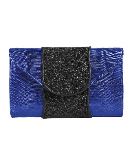 Babo Lizard & Stingray Clutch Bag, Blue/Black