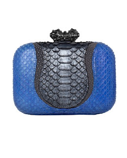 Khirma Eliazov Batasha Python & Stingray Clutch Bag, Blue/Gray