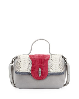 Khirma Eliazov Saper Mini Crocodile/Python Lady Bag, Gray/Fuchsia