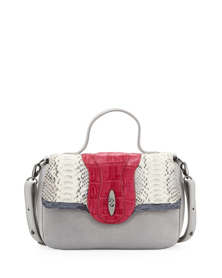 Saper Mini Crocodile/Python Lady Bag, Gray/Fuchsia