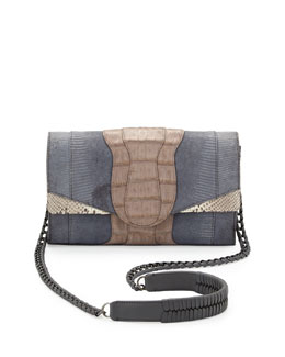 Khirma Eliazov Herzog Mini Python and Crocodile Clutch Bag, Gray Multi
