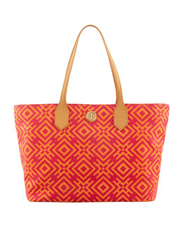 Tory Burch Geometric-Print Canvas Tote Bag, Pink/Orange