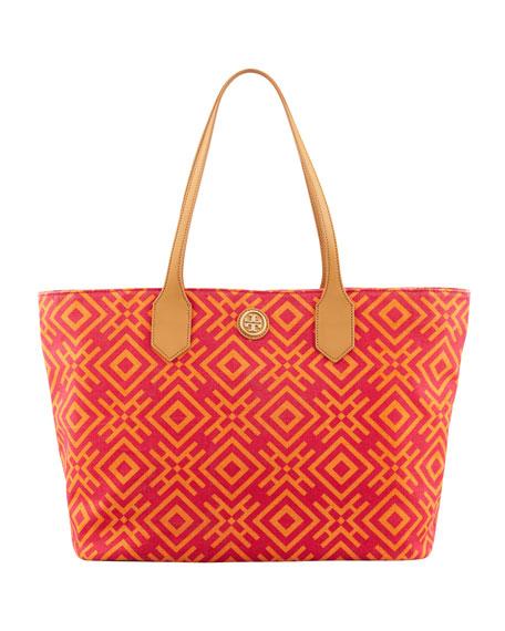Geometric-Print Canvas Tote Bag, Pink/Orange