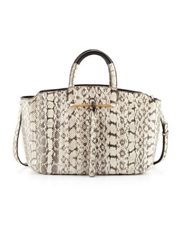 B Brian Atwood Gena Medium East-West Snake Tote Bag, Black/White