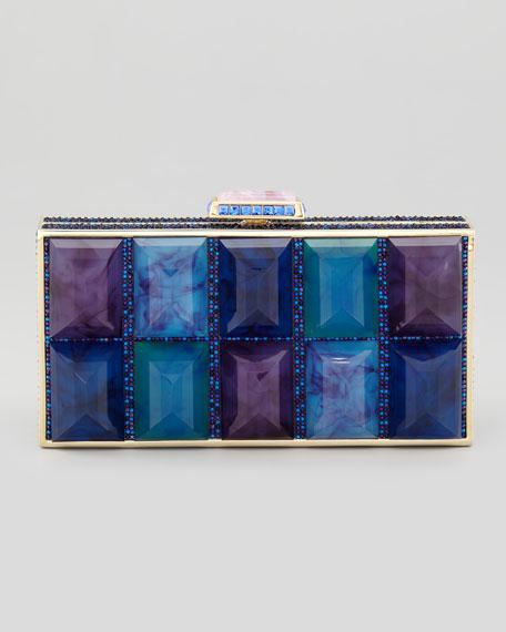 Perfect Rectangle Stone Clutch, Purple/Blue