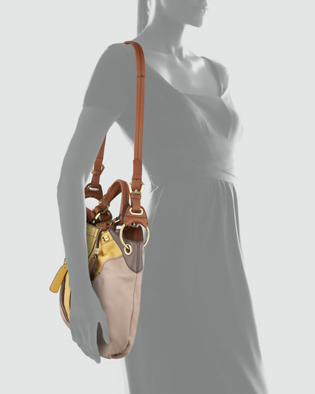 Victoria Colorblock Shoulder Bag, Beige/Yellow