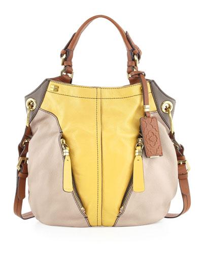 Oryany Victoria Colorblock Shoulder Bag, Beige/Yellow