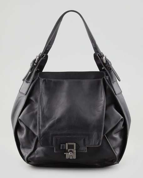Valerie Flap-Front Shoulder Bag, Black