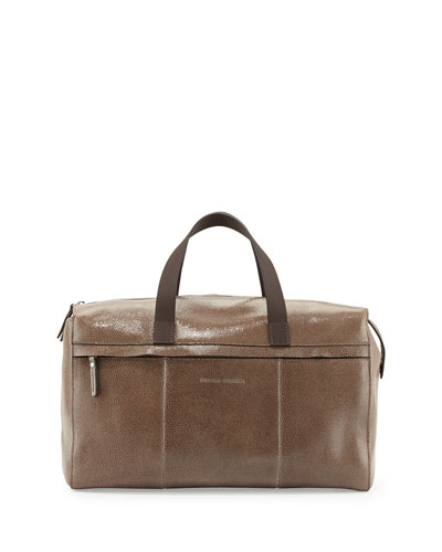 Brunello Cucinelli Brilliant Crackled Bowler Bag, Dark Gray