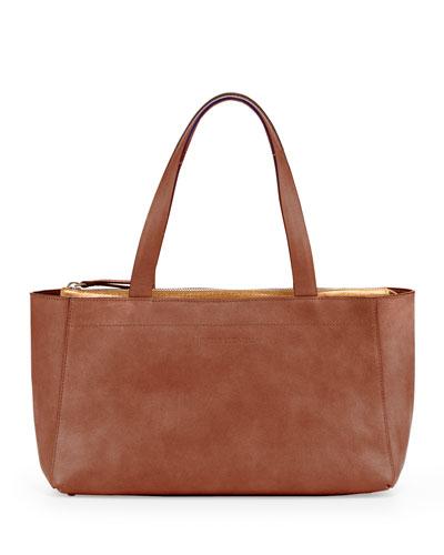 Brunello Cucinelli Mini East-West Tote Bag, Rust