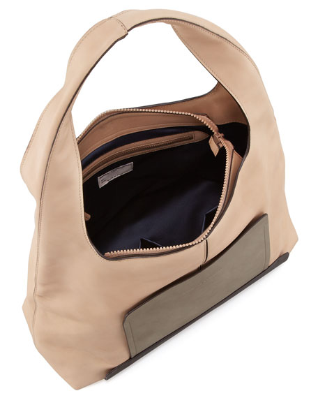 Colorblock Leather Hobo Bag, Multi