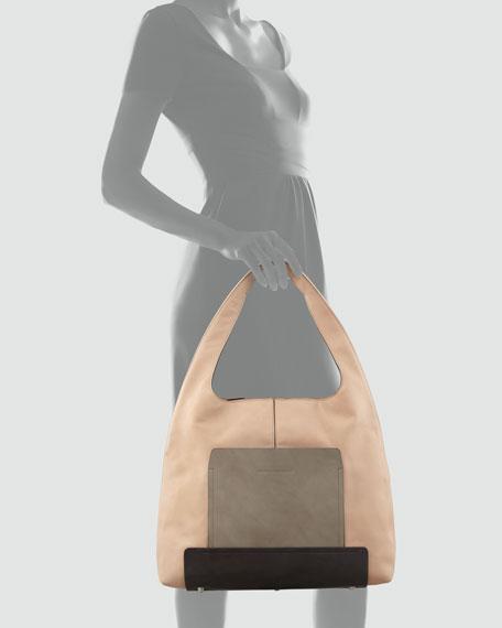 Colorblock Leather Hobo Bag, Multi