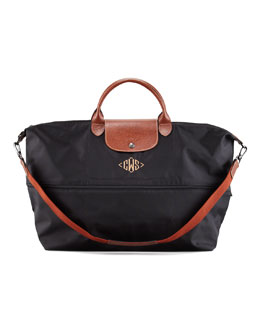 Longchamp Le Pliage Monogrammed Expandable Travel Bag, Black